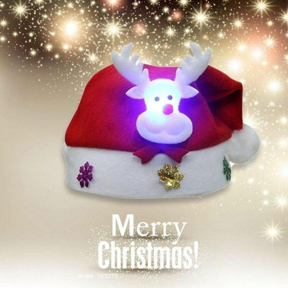 Merry Christmas LED Light Hat Santa Claus/Snowman Xmas Holiday Cap For Adult Kid Knit Hat