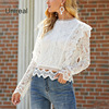 Unireal 2021 Summer Women White Lace Blouse Shirt Long Sleeve Vintage Cute Ruffle Blouse Sexy Tops 2