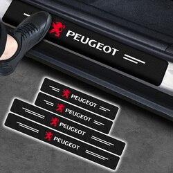 4pcs Protetor de Soleira Da Porta Do Carro Adesivos de Carro De Fibra De Carbono para Peugeot 107 108 206 207 301 308 307 407 408 508 2008 3008 4008 5008
