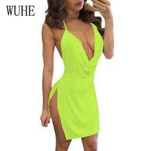 WUHE Sexy Dress Club Wear Women Vestidos Summer Sleeveless Bodycon Dress Hollow Out Strap Low-cut Halter Bandage Party Dresses цены