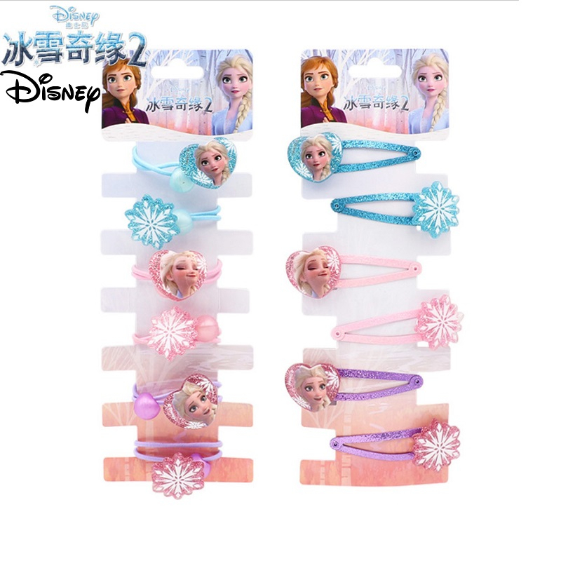 6pcs/pack Frozen 2 Hair Clips For Girls New Elsa Princess Hair Accessories Disney Children Kids Fashion Clips Gift Set Make Up