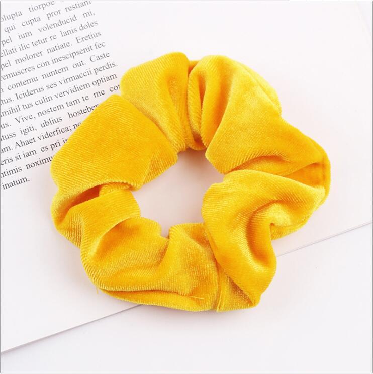 33 цвета, корейские Бархатные резинки для волос, эластичные резинки для волос, одноцветные женские головные уборы для девушек, заколки для волос с конским хвостом, аксессуары для волос - Цвет: Yellow