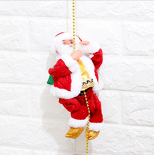 Climbing Beads Santa Claus With Music 2022 New Years Merry Christmas Decorations For Home Xmas Santa Claus Doll Electric Toys w2