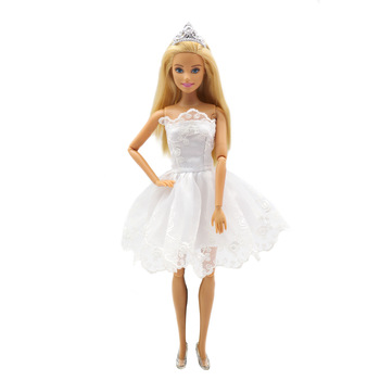 princess dress outfits doll clothes for barbie accessories play house dressing up costume kids toys gift White Princess Dress BJD Doll Outfits Clothes for Barbie  Accessories Play House Dressing Up