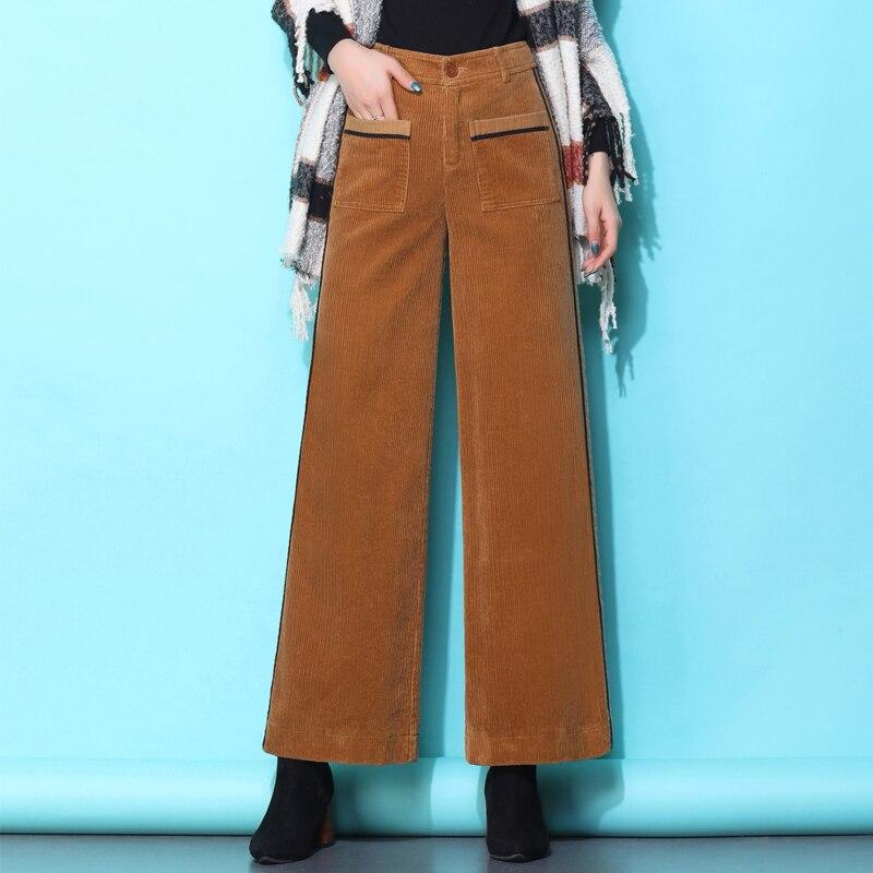 Autumn Winter Loose Wide Leg Pants Female Pure Cotton Corduroy Pants Women High Waist Corduroy Trousers Pockets S-XXXL