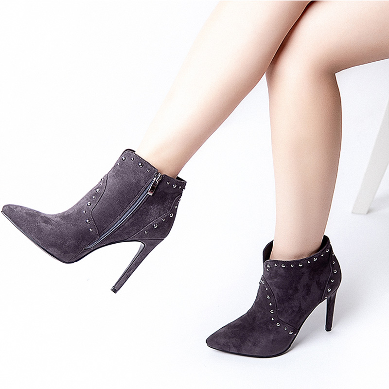 Women Autumn Winter Ankle Boots Pointed Toe Zipper Boots Genuine Leather Flock Martin Boots High Heels 12CM V594 253 in Ankle Boots from Shoes