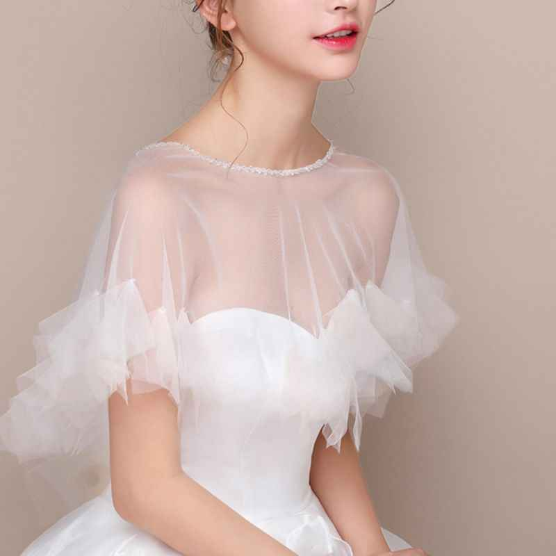Womens Wedding Cape Sheer Tulle Ruffles Trim Bridal Capelet Bolero 1920S Ladies Pullover Crew Neck Shrug Wrap for Dress Cover Up
