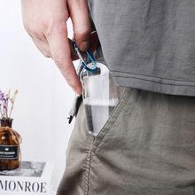 10pcs 15ml 50ml Empty Clear Bottles Holder Hook Keychain Flip Cap Portable Bottle Travel Cosmetic Jar Makeup Container cheap CN(Origin)