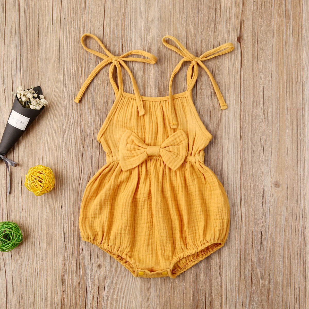 Emmababy Newborn Baby Girl Clothes Solid Color Knitted Cotton Sling Bowknot Romper Jumpsuit One-Piece Outfit Sunsuit Clothes