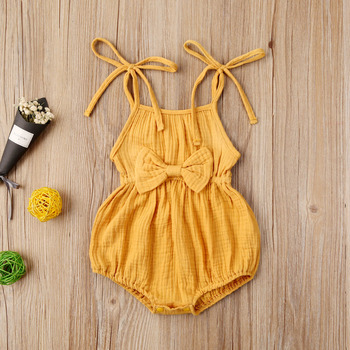 Emmababy Newborn Baby Girl Clothes Solid Color Knitted Cotton Sling Bowknot Romper Jumpsuit One-Piece Outfit Sunsuit Clothes emmababy summer newborn baby girl clothes sleeveless striped bowknot strap romper jumpsuit one piece outfit sunsuit clothes
