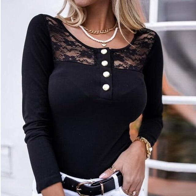 2021 Fashion Spring Ladies Mesh Lace Blouse Elegant Long Sleeve Autumn Shirt Pullover Women Casual O Neck Button Slim Tops Blusa 5