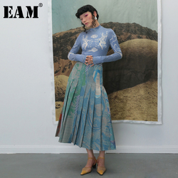 [EAM] عالية مرونة الخصر مطوي منقوشة طباعة التباين اللون نصف الجسم تنورة المرأة الموضة المد جديد ربيع الخريف 2020 1B741