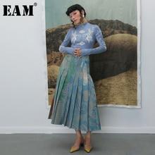 [EAM] 높은 탄성 허리 Pleated 격자 무늬 인쇄 대비 색 하프 바디 스커트 여성 패션 조수 새로운 봄 가을 2020 1B741