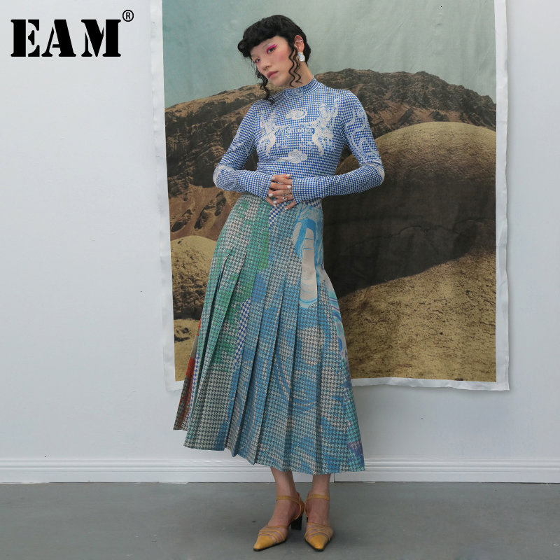 [EAM] haute taille élastique plissé Plaid impression contraste couleur demi-corps jupe femmes mode marée nouveau printemps automne 2021 1B741