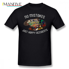 Bob Ross T Shirt BOB ROSS NO MISTAKES HAPPY ACCIDENTS T-Shirt Printed Cute Tee Fashion Short-Sleeve Oversize Tshirt