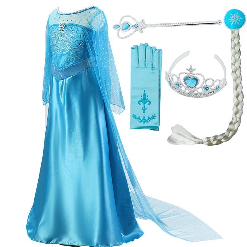 Girls Princess Elsa Dress Costumes For Kids Anna Snow Queen Costume Cosplay Dresses Clothes Children Party Dress Vestidos