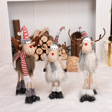 Elk Christmas Dolls Christmas Decorations for Home Retractable Standing Toy Birthday Party Gift Kids Santa Cluas Snowman