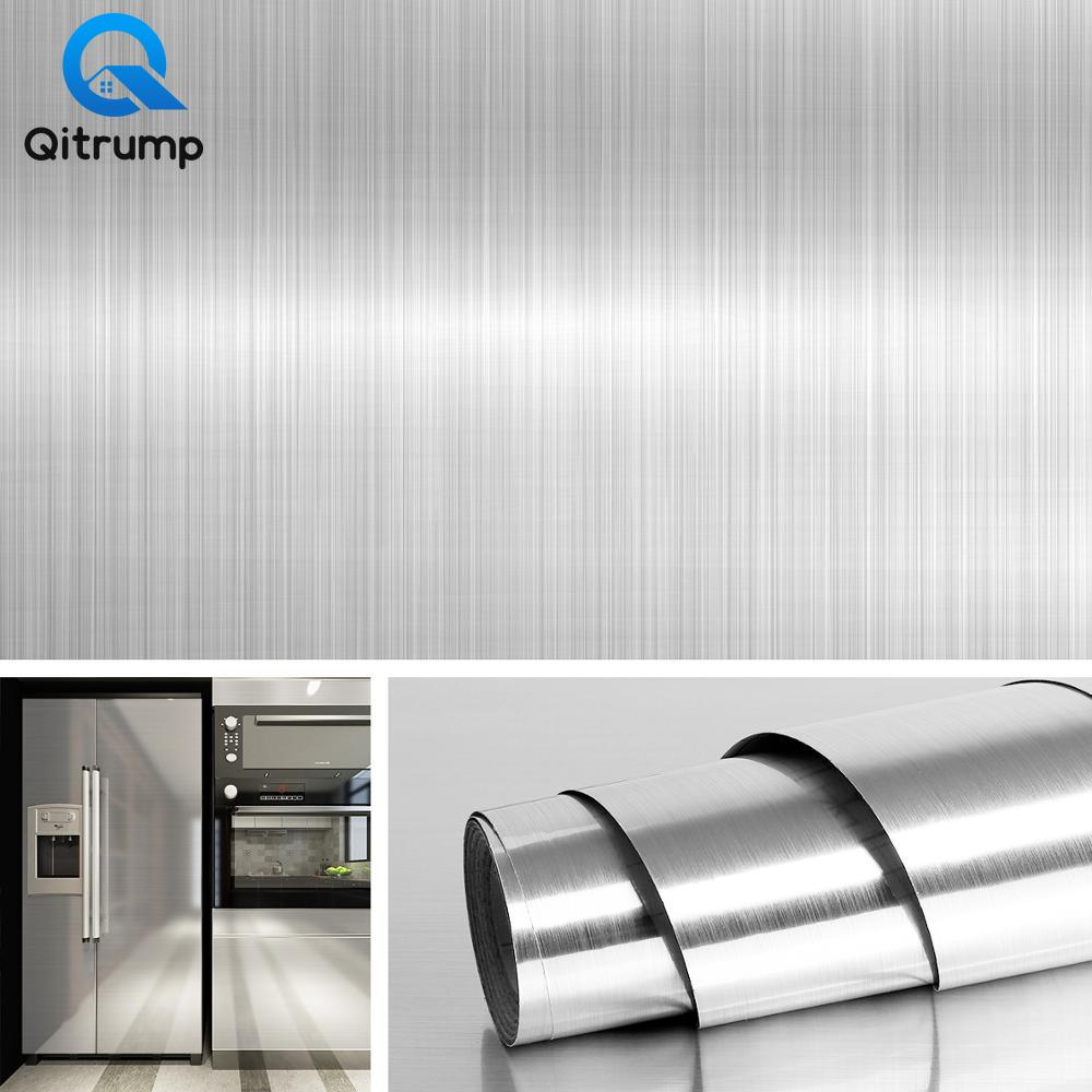 Metal Brushed Gold Silver DIY Removable Wallpaper Decor Film PVC Vinyl Waterproof Oil-proof House Appliance Kitchen Wall Sticker