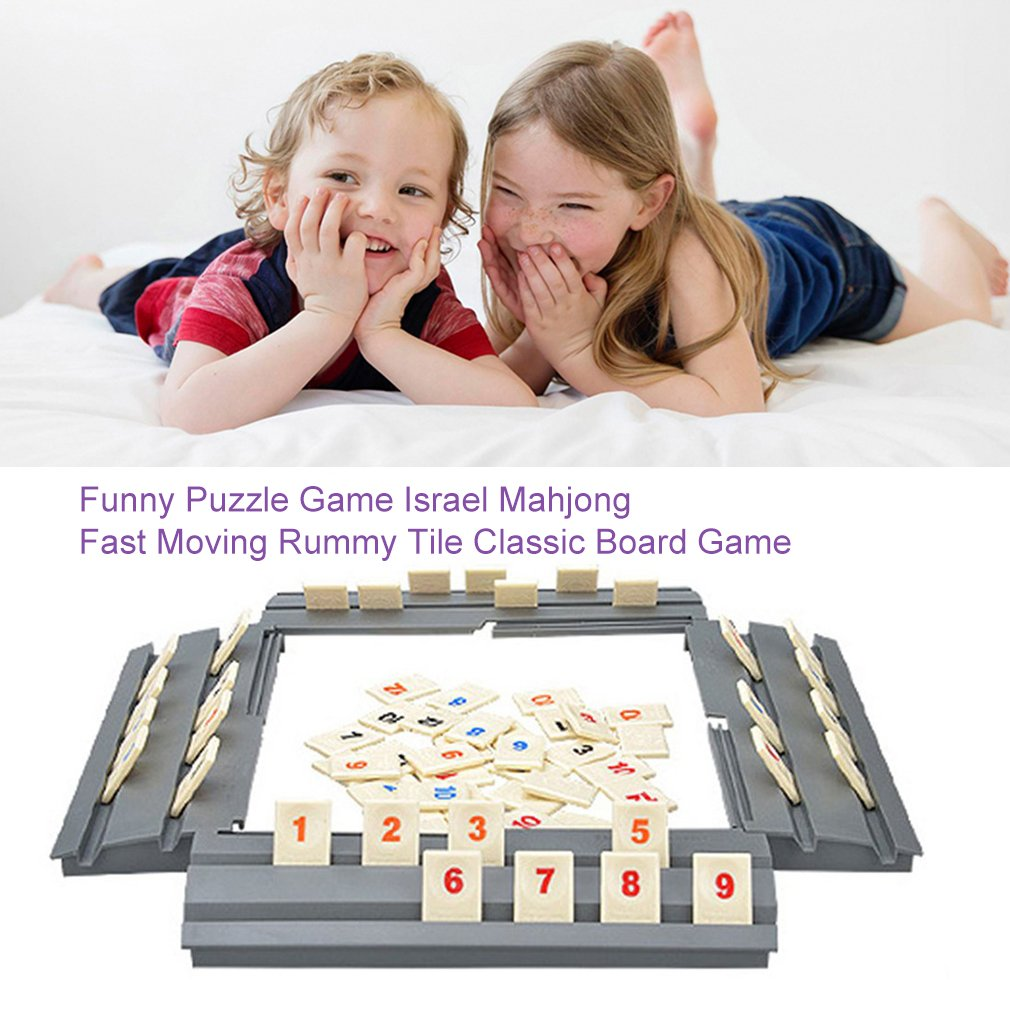 Funny Puzzle Game Israel Mahjong Fast Moving Rummy Tile Family Game Travelling Version Classic Board Game Toy For Kids And Adult