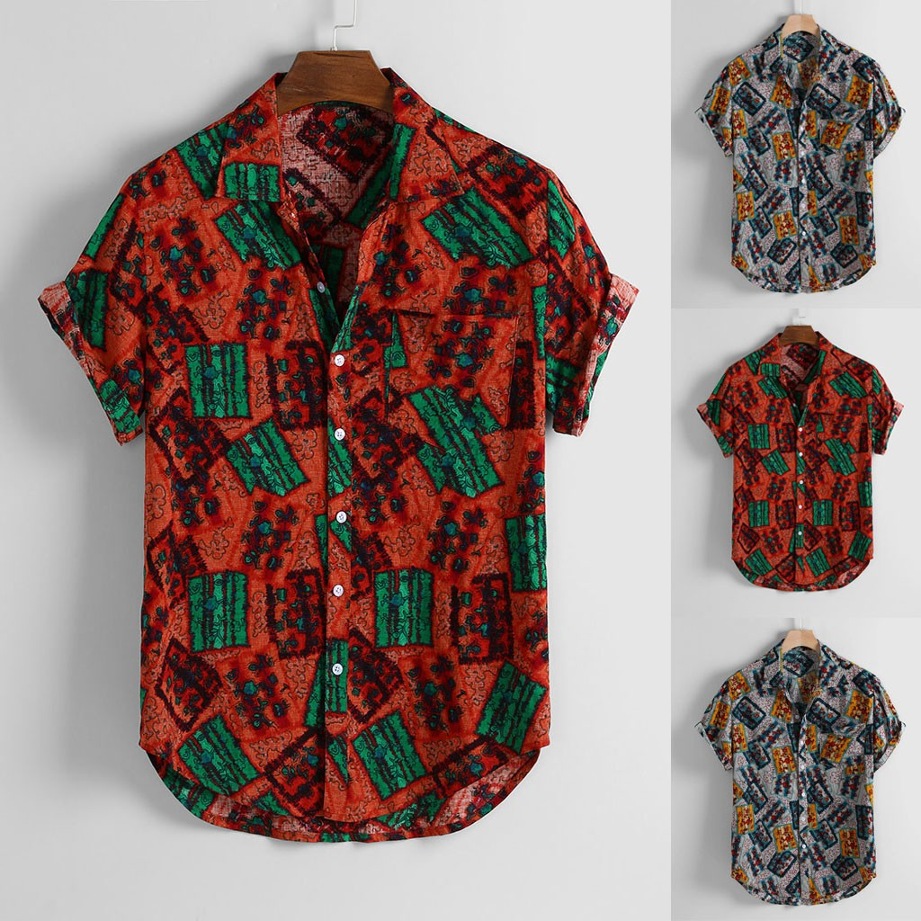 Explosive Shirt! Mens Vintage Floral Print Chest Pocket Turn Down Collar Short Sleeve Loose Shirt Are You Sure Not To Buy?