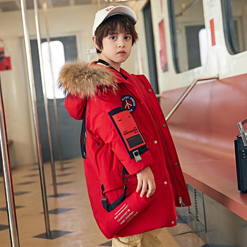 down jacket in the boy's long winter 2018 han edition with thick white duck down new wholesale children's wear coat