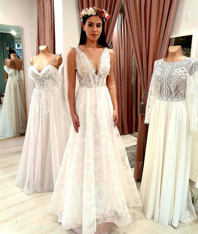 Bride Dress V-neck Tulle Floor Length Women Party Gowns Zwarte Vestidos Novia Boda Sleeveless Svadobne Saty Elegante Kleider