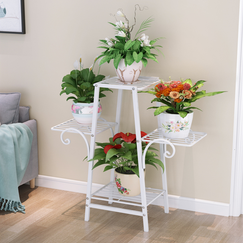 Rack Landing Type Flower Airs Iron Art Multi-storey Indoor Balcony A Living Room Botany Flowerpot Frame Potted Plant Green Luo