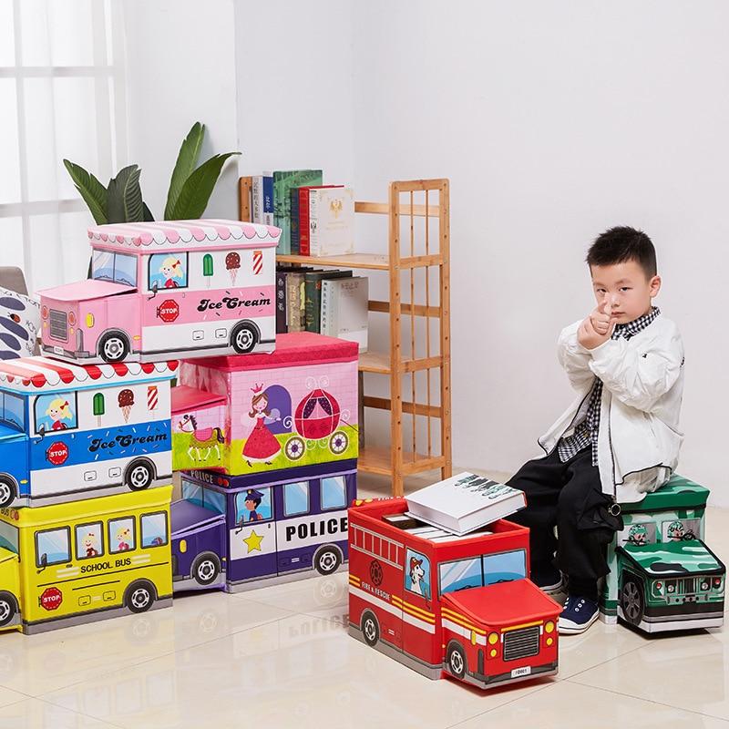 Bus Shape Toys Storage Box Kids Clothes Toy Organizer Folding Cartoon Car Toy Storage Basket Children Storage Bin