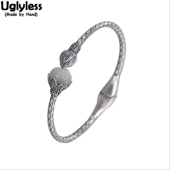 Uglyless Vintage Thai Silver Lotus Bud Open Bangles for Women Twists Natural Jade Lotus Flower Fashion Jewelry 925 Silver Bijoux