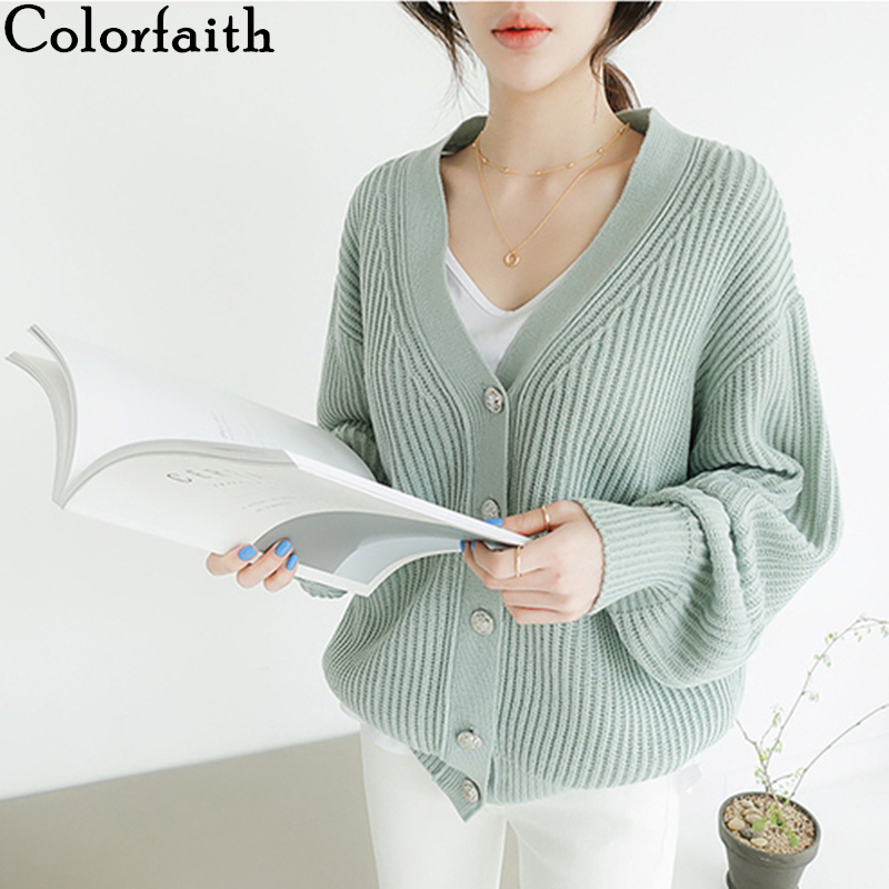 Colorfaith Women's Sweaters Autumn Winter 2019 Cardigans Knitted Single Breasted Minimalist Casual Solid Loose Tops SW8132