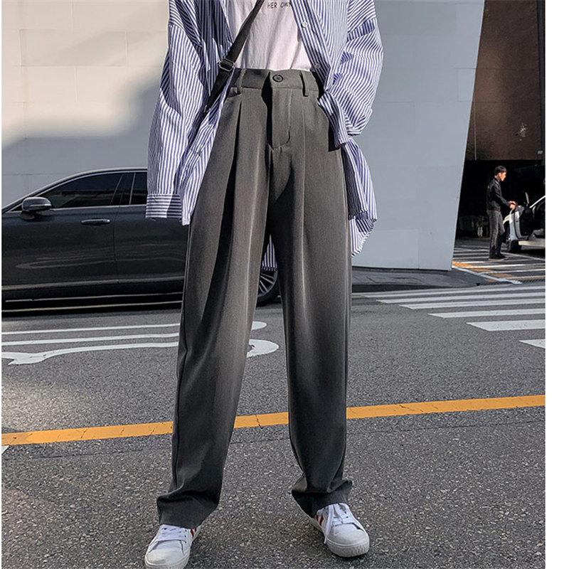 HziriP 2020 Chic Loose Solid Slim Full Length Wide Leg Pants Plus Size Fashion Straight Brief Slender Casual High Waist Women