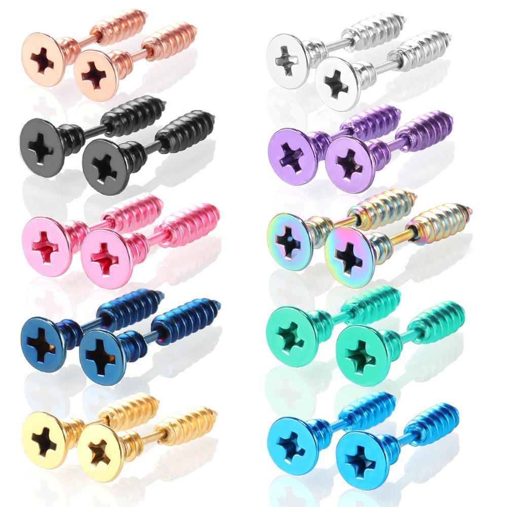 1Pair Screw Punk Earrings Men Stainless Steel Unisex Punk Stud Earring Rock Gothic Fake Ear Plug Cheater Piercing Helix Jewelry