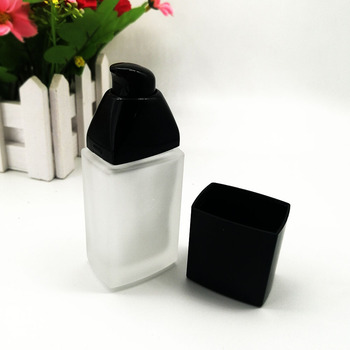 30ml square frosted glass lotion bottle cosmetic BB CC cream liquid foundation packaging container with black cap