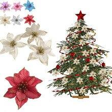 5/10pcs 13cm Artificial Flowers Glitter Cloth Christmas Decoration Flower for Wedding Home DIY Tree Accessores