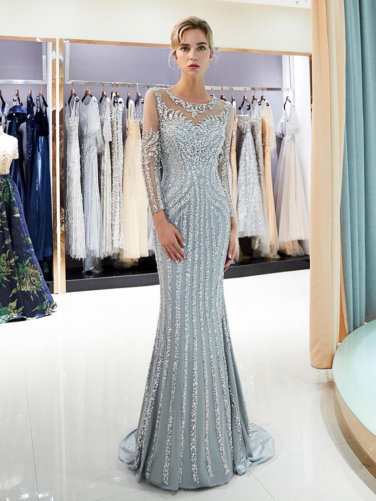 Evening-Dress Crystal Long-Sleeve Beaded Formal-Gown Robe-De-Soiree Mermaid-Dubai Luxury