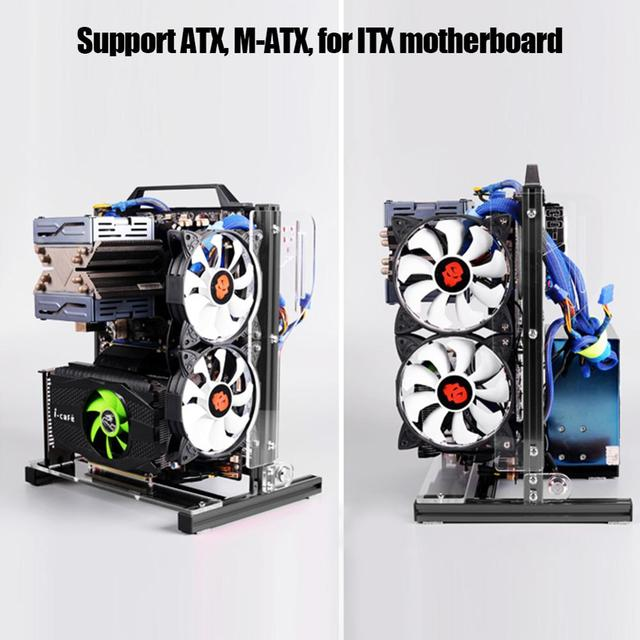 DIY Open PC Case for ATX/M-ATX/ ITX Chassis Vertical Overclocking Open Aluminum Frame Chassis Rack DIY Computer Accessories Kit 4