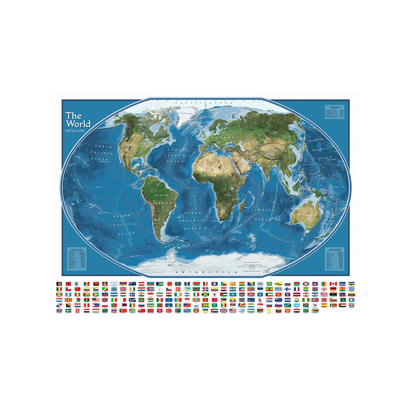 5*7ft Non-woven World Map Poster The World Satellite Map With The Largest Water Bodies And Landmasses Rank With National Flags