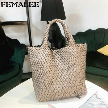 Ladies' pu Woven bag For Women New Autumn Tote Bags fashion High-capacity handbag women Inclined single shoulder bag Mother Bag