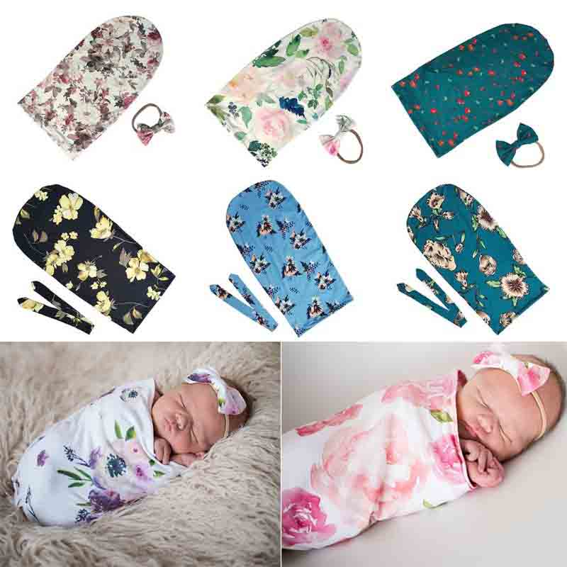 Newborn Photography Prop Baby Blankets Printed Newborn Infant Baby Boys Girls Sleeping Swaddle Muslin Wrap +Bow-knot Headband