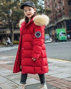 Image 5 - 2020 חורף חם ילדה למטה מעילים ארוך עיצוב ילדים למטה מעיילי מעיל אמיתי פרווה ילדי נער עבה למטה הלבשה עליונה 30 תואר