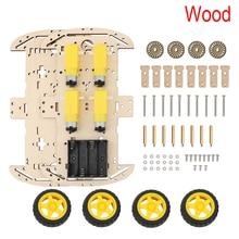 Деревянный 4WD умный робот шасси автомобиля комплект с 4 моторами(1:48) робот шасси код скорости кодер батарея коробка для Arduino UNO