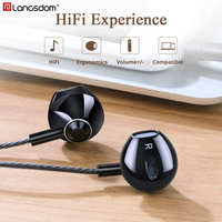 Langsdom F9 3.5mm Half In-ear Earphone Metal Bass Earphones with Microphone Headset Earbuds for Phone Computer Fone De Ouvido