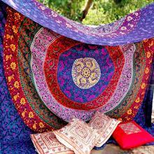 Protector solar tapiz de muselina manta para sofá cama cortina Boho Mandala Hippie colcha cubierta de cabecera poliéster Vintage grande indio