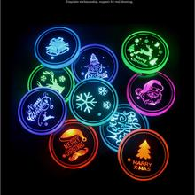 Mats Led-Cup-Holder Coasters Bottle Auto-Accessories Christmas-Series 7-Colors Light-Pads