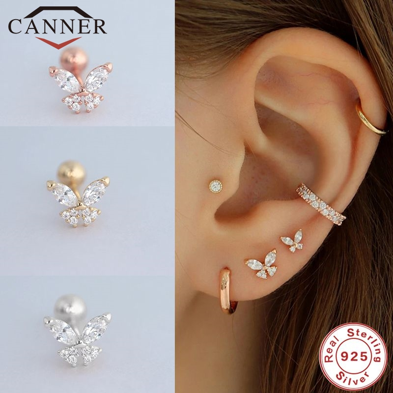 CANNER 1 Pair Butterfly Earring Female 925 Sterling Silver Stud Earring Screw Ear Bone Nail Zircon Earrings Piercing Jewelry