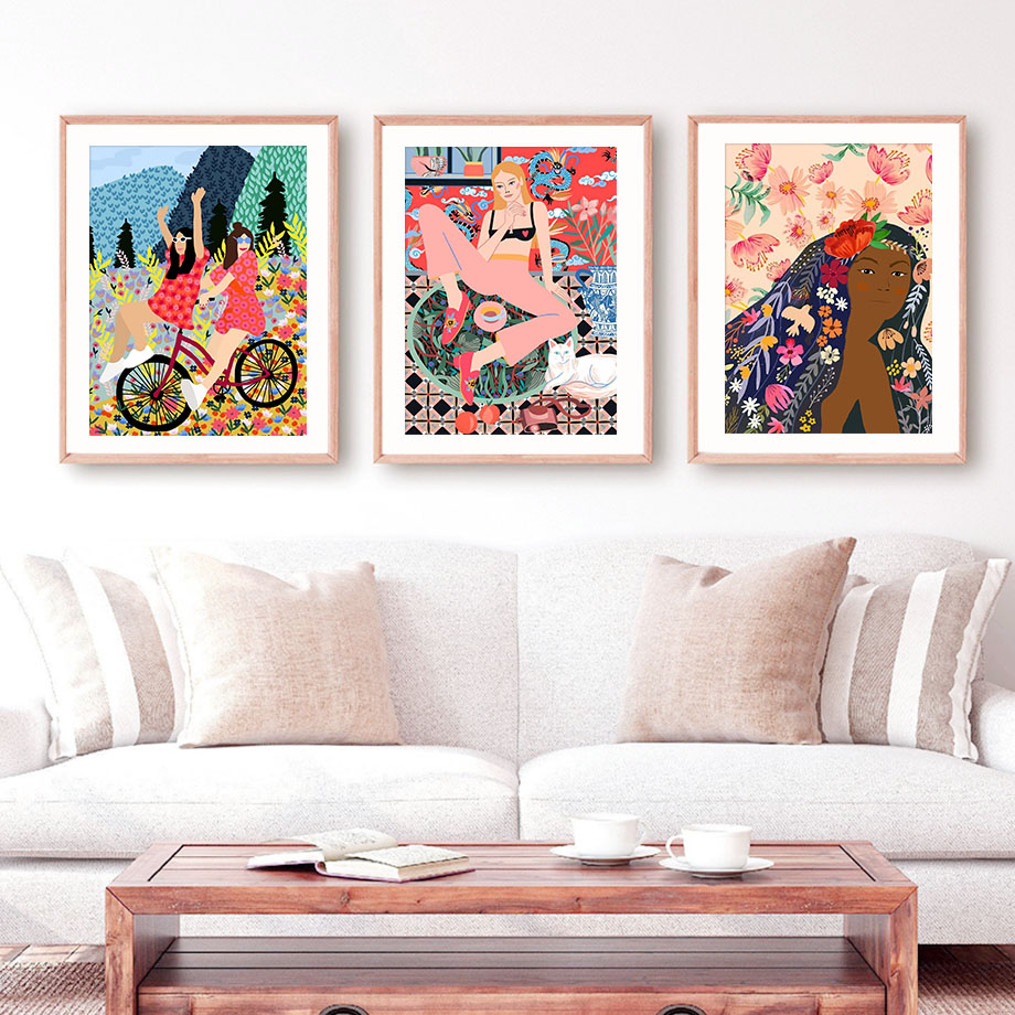 Colorful Abstract Fashion Moroccan Girl Wall Art Canvas Painting Nordic Posters And Prints Wall Pictures For Living Room Decor|Painting & Calligraphy| - AliExpress
