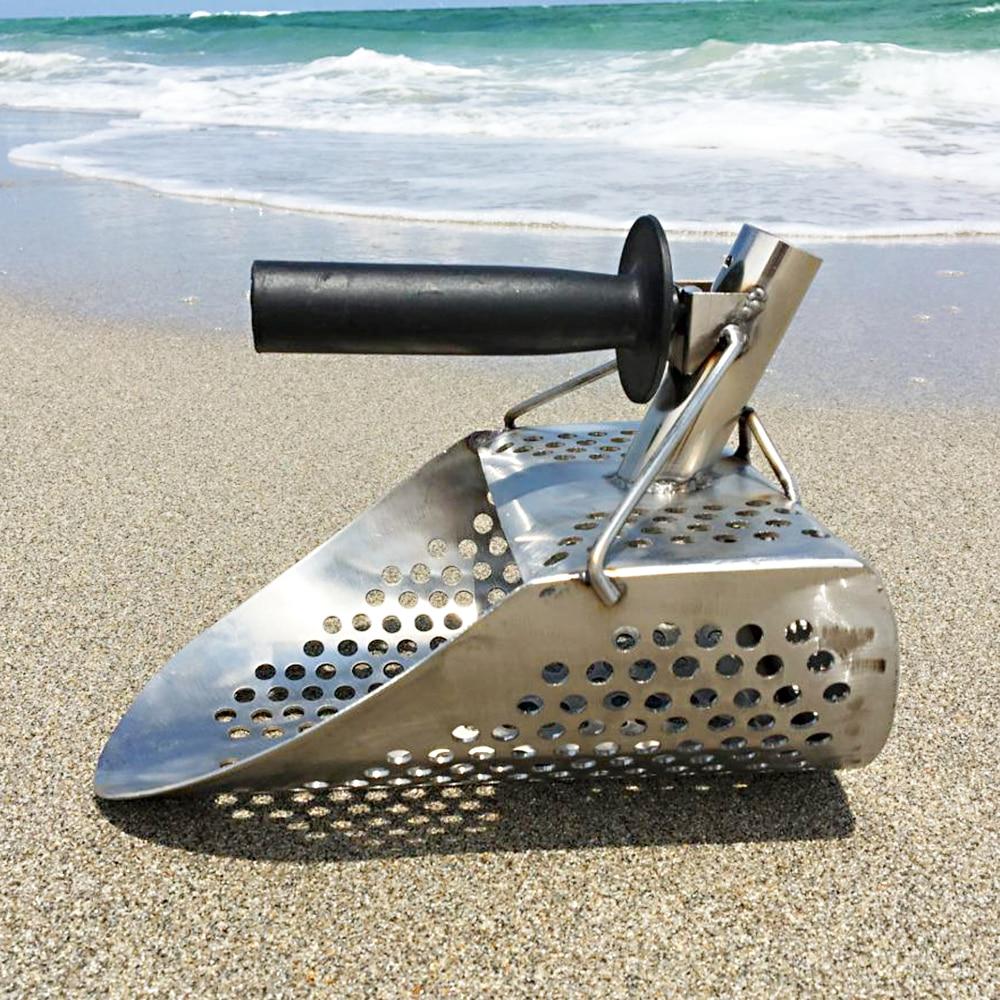 Pelle à sable de plage avec poignée outil de détection de métal détecteur d'acier inoxydable détecteur de métaux d'eau en acier inoxydable criblage rapide