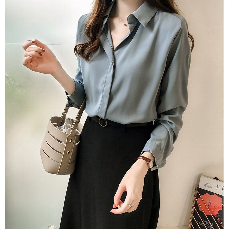 2019 frühling Kleidung Neuen Stil Korean stil Elegante Einfarbig Shirt Frauen Langarm Tops Einfache Ol Chiffon Hemd basis Shirt - 2