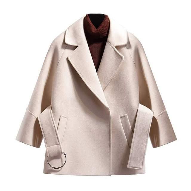 Women Short Woolen Coat Belt Jacket 3