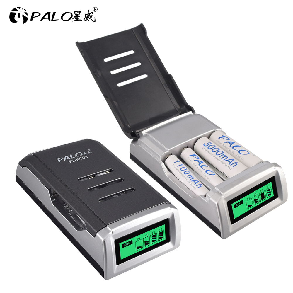 LCD Display With 4 Slots Smart Intelligent Battery Charger For AA   AAA NiCd NiMh Rechargeable Batteries